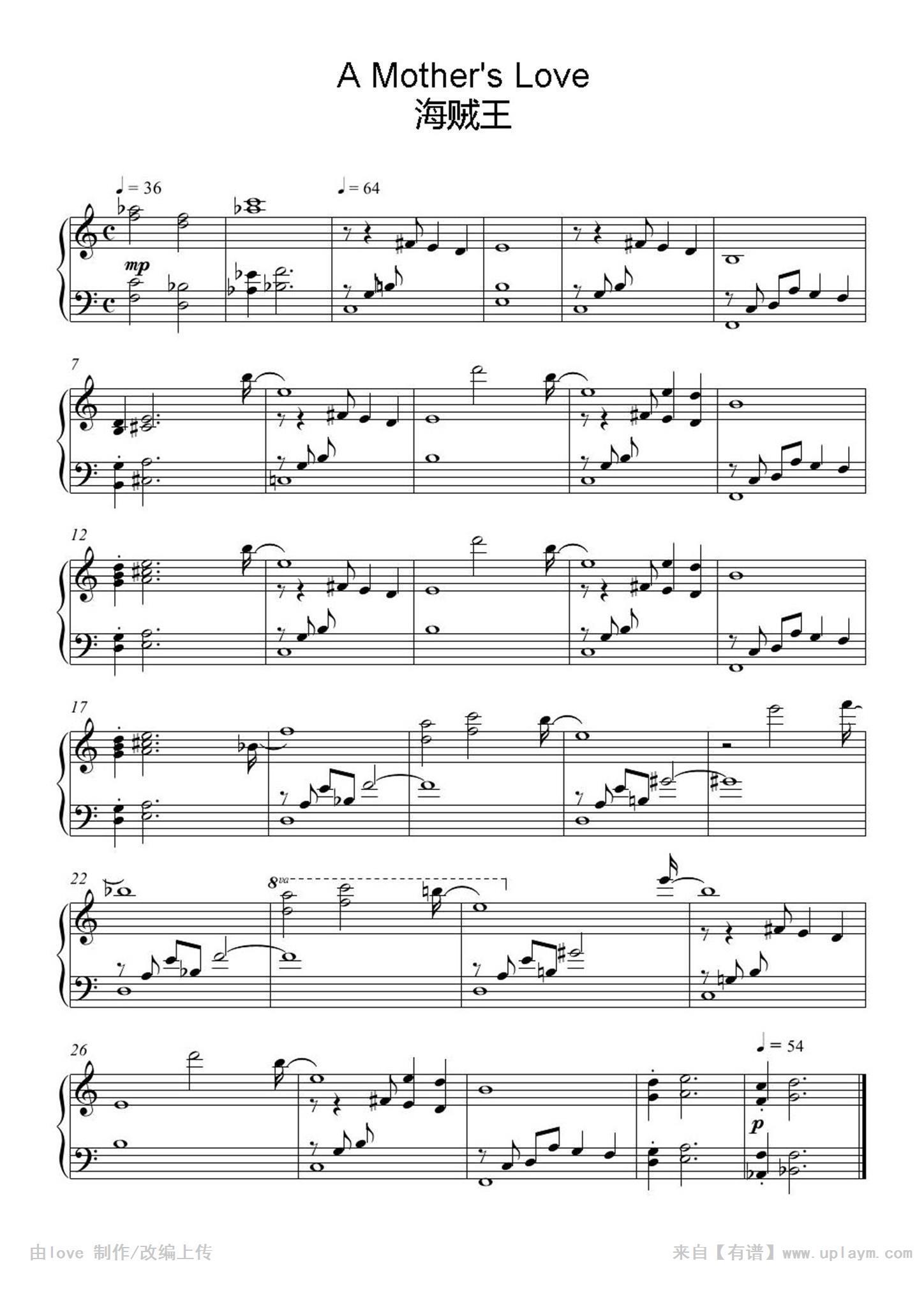 度: 3级 页       数: 1 描       述: 《海贼王》著名插曲,钢琴